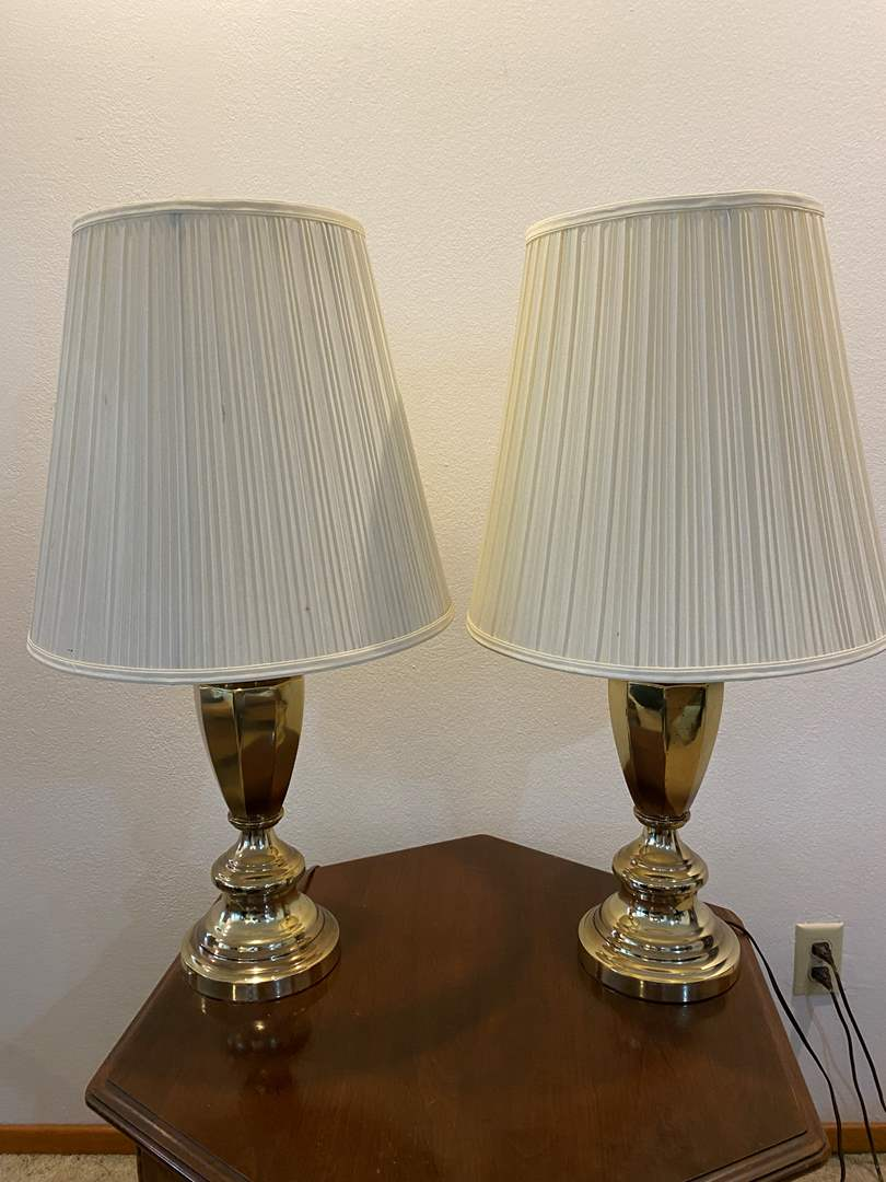 """Lot # 185 - Two Vintage Brass Table Lamps - 29""""Tall  (main image)"""