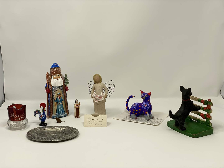 Lot # 198 - Cast Iron Scottie Dog Door Stop, Antique 1899 Cranberry Glass, Signed German Santa, Willow Tree Angel & Mexican Cat  (main image)
