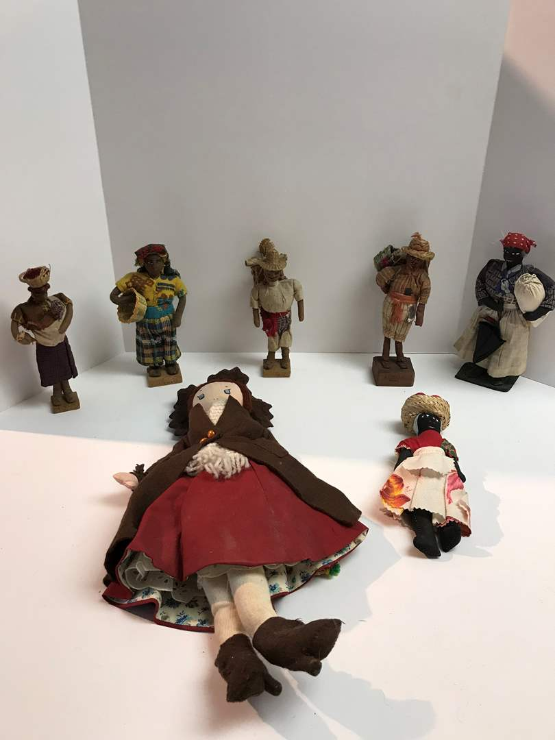 Lot # 204 - Vintage Dolls from Around the World - All Cloth, 1 Doll has Slate Shoes (main image)