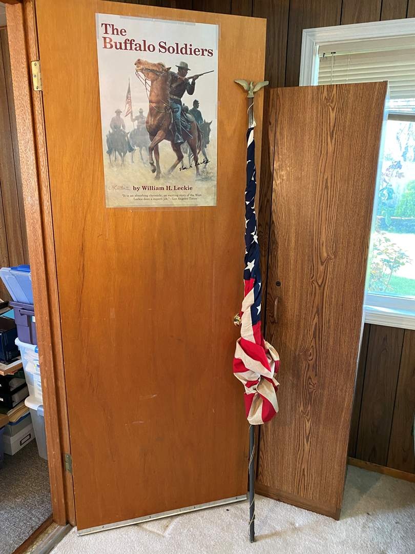 Lot # 169 - 50 Star American Flag on Pole & Signed Buffalo Soldier Poster by William H. Leckle (main image)