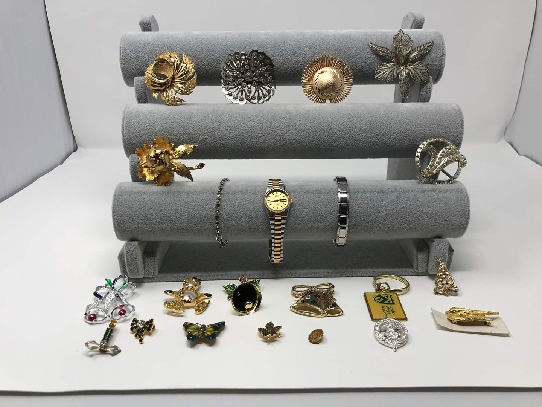 Lot # 219 - Bracelets, Watch & Vintage Pins (main image)