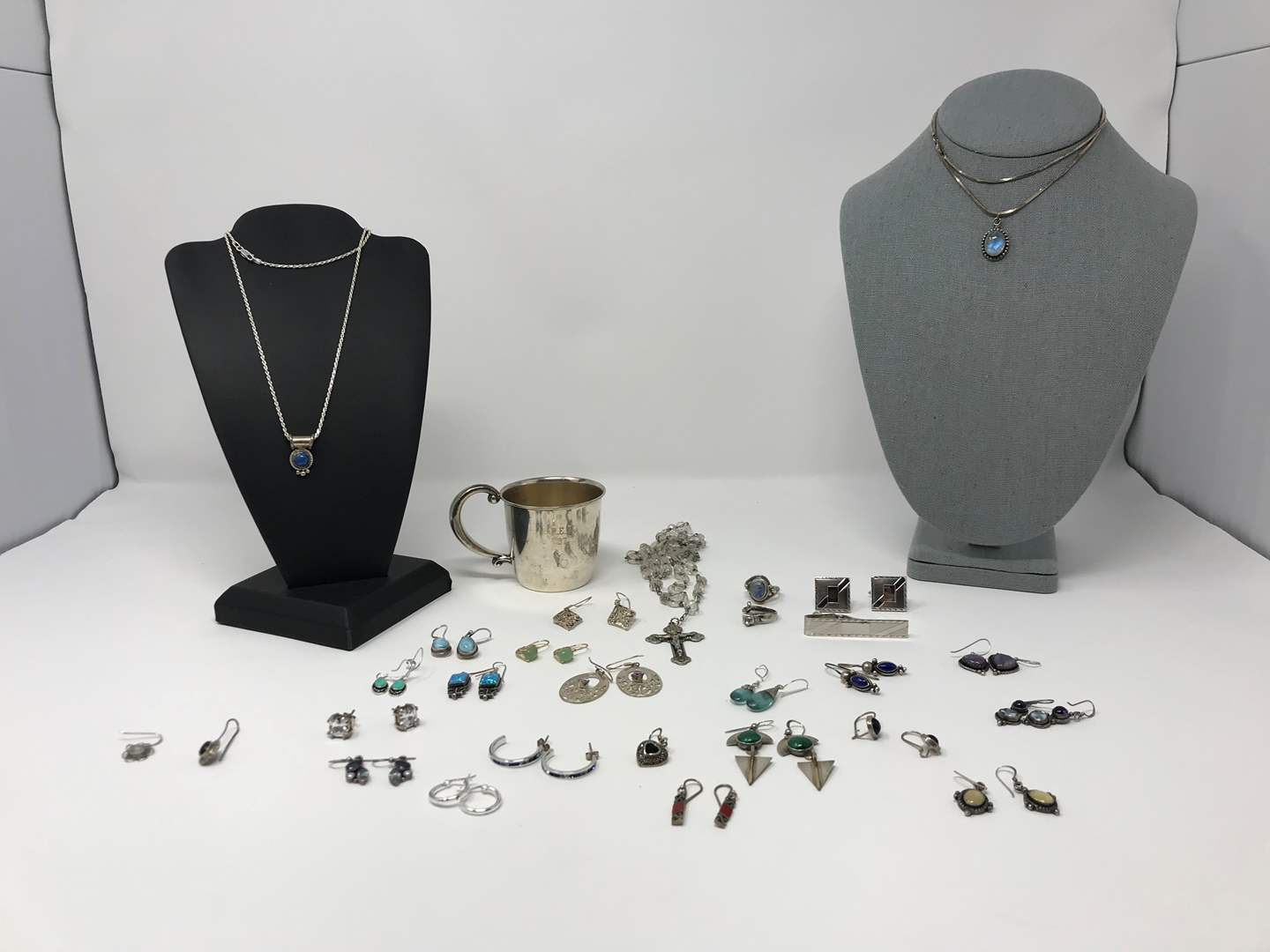 Lot # 222 - Sterling Silver Items: Matching Earrings, Necklaces, Rings, 1937 Baby Cup, Misc. Earrings & More..  (main image)