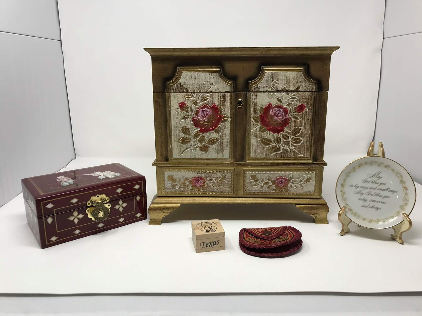 Lot # 229 - Vintage Jewelry Box, Small Inlaid Jewelry & More..  (main image)