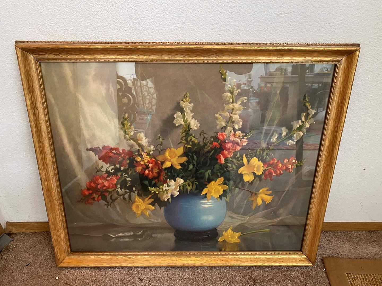 Lot # 12 - Large Vintage Framed Floral Print  (main image)
