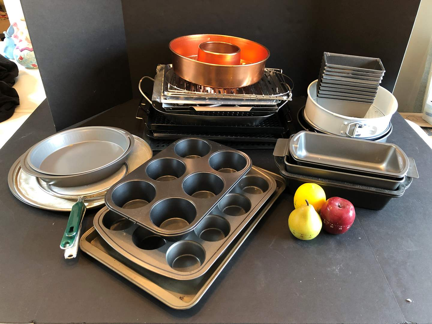 Lot # 126 - Cookie Sheets, Cupcake Pans, Bread Pans, Strainers & More..  (main image)