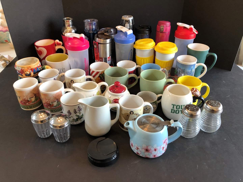Lot # 127 - Large Selection of Coffee Mugs, Blender Bottles & More..  (main image)