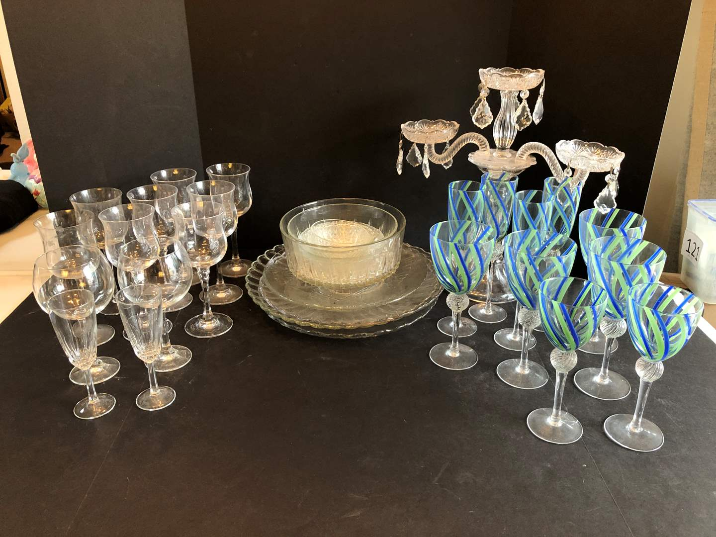 Lot # 130 - Crystal Bowls, Candle Holders, Stemware  (main image)