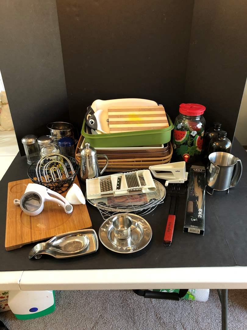 Lot # 138 - Beverage Dispenser, Sugar Dispensers, Cutting Boards & More..  (main image)