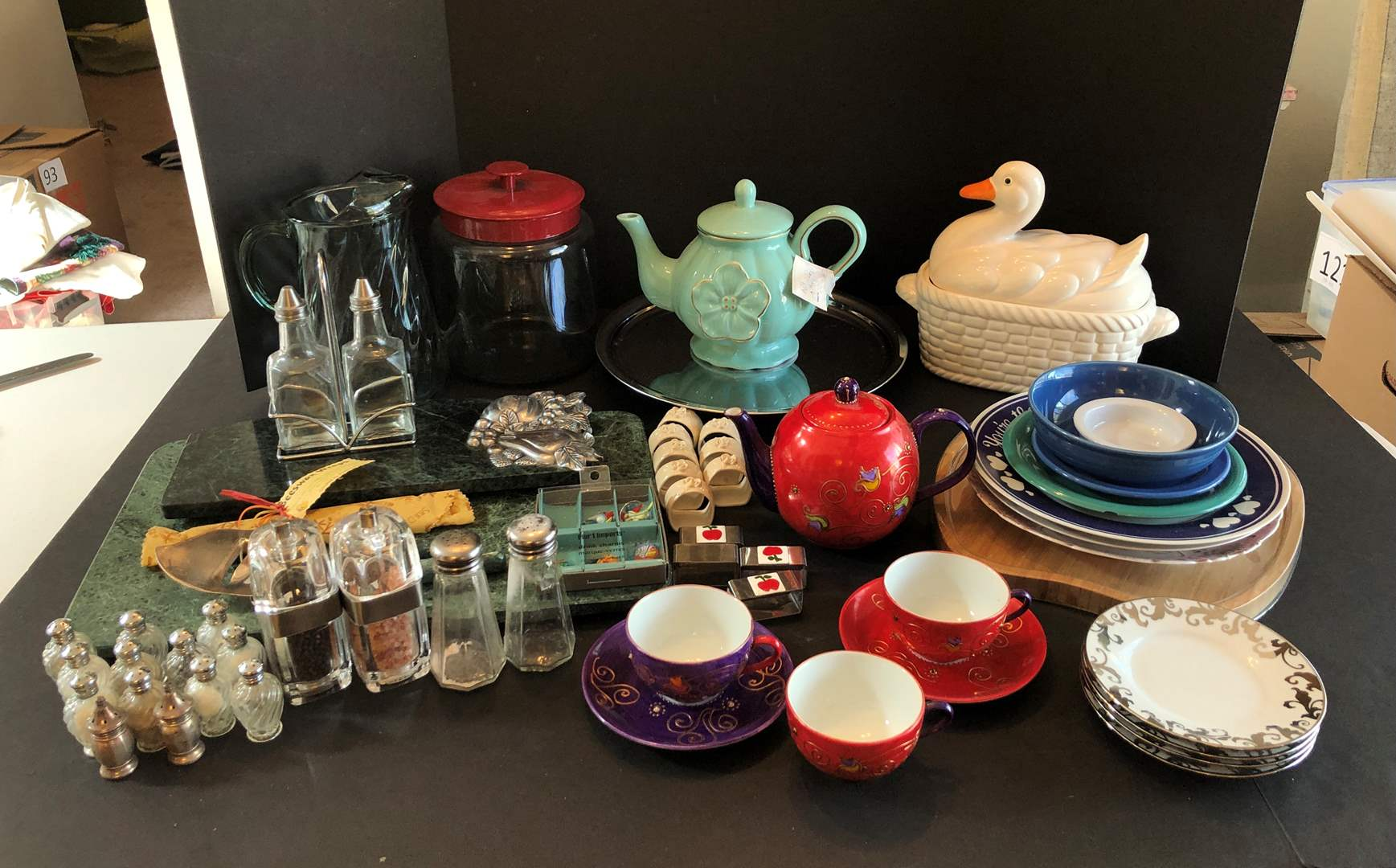 Lot # 141 - Marble Cutting Board, Tea Pots, Salt & Pepper Shakers, Misc. Plates & More..  (main image)