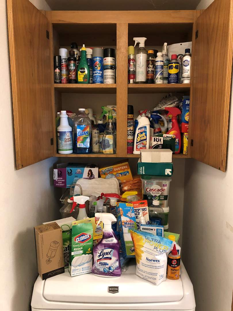 Lot # 143 - Large Selection of Cleaning Solutions: Dawn, Laundry Soap, Bleach & More..  (main image)