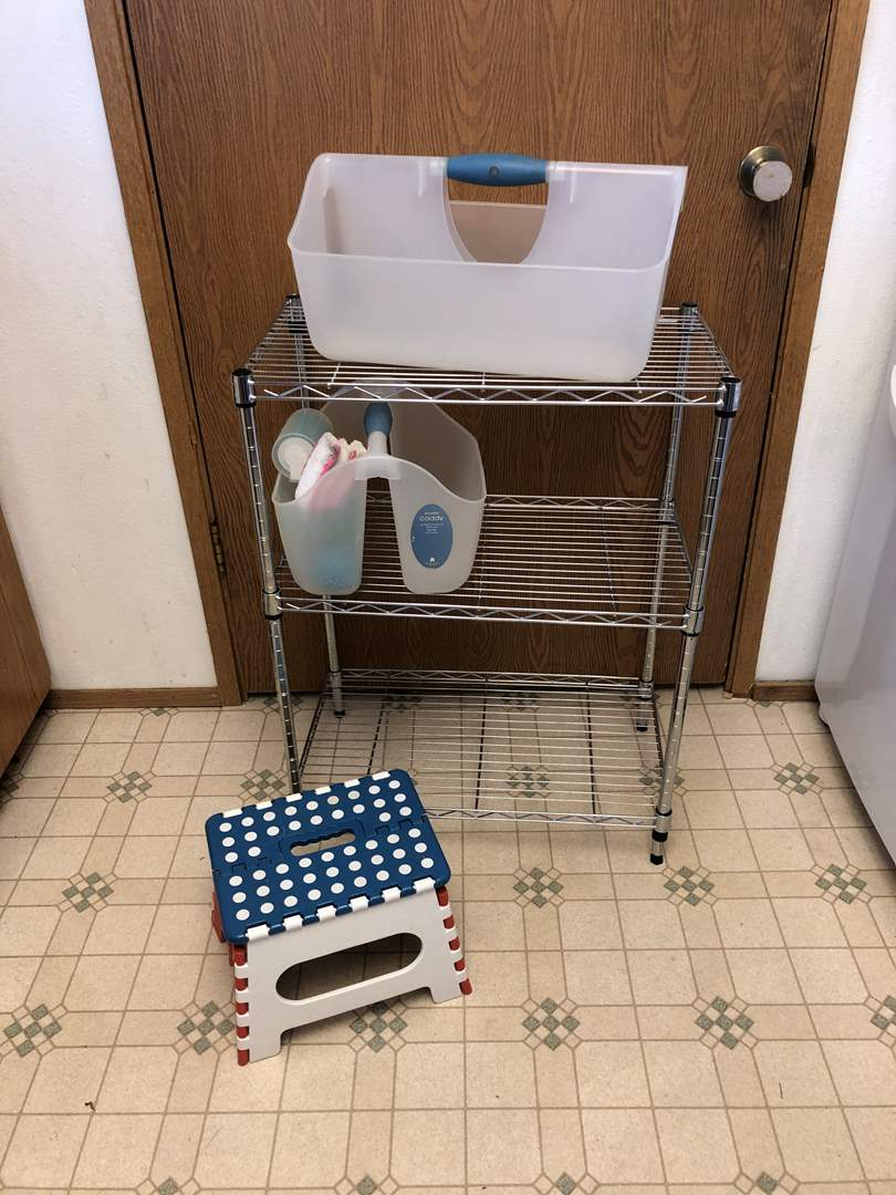 Lot # 145 - Small Metal Storage Rack w/2 Plastic Caddies & Step Stool  (main image)