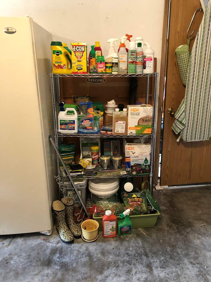 Lot # 244 - Large Selection of Garden & Household Supplies: Trash Bags, Rodent Poison, Bird Seed, Miracle Grow &  More..  (main image)
