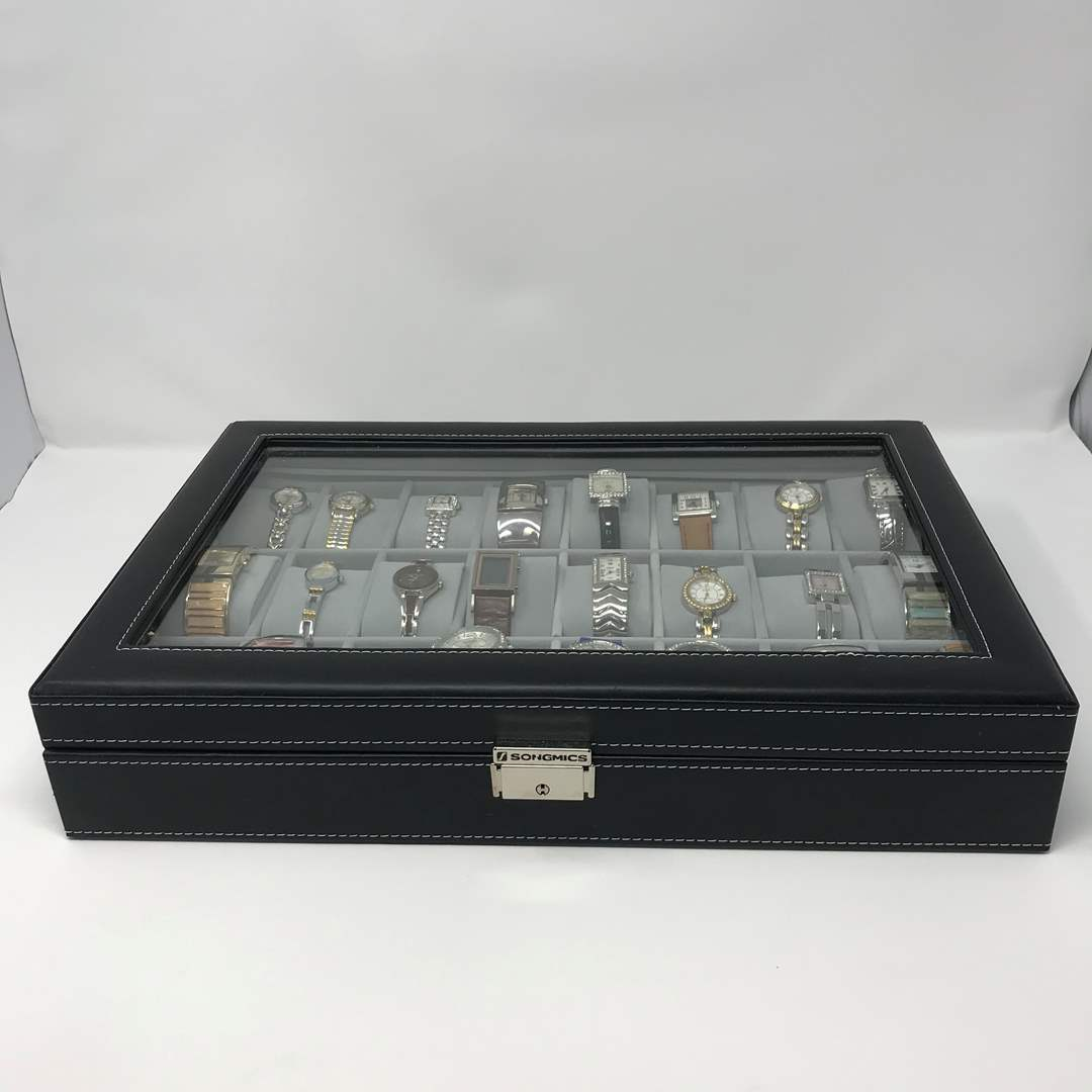 Lot # 76 - Beautiful Songmics Watch Case Full of Watches - (One Signed by Frank Gehry w/Solid Titanium Case) (main image)