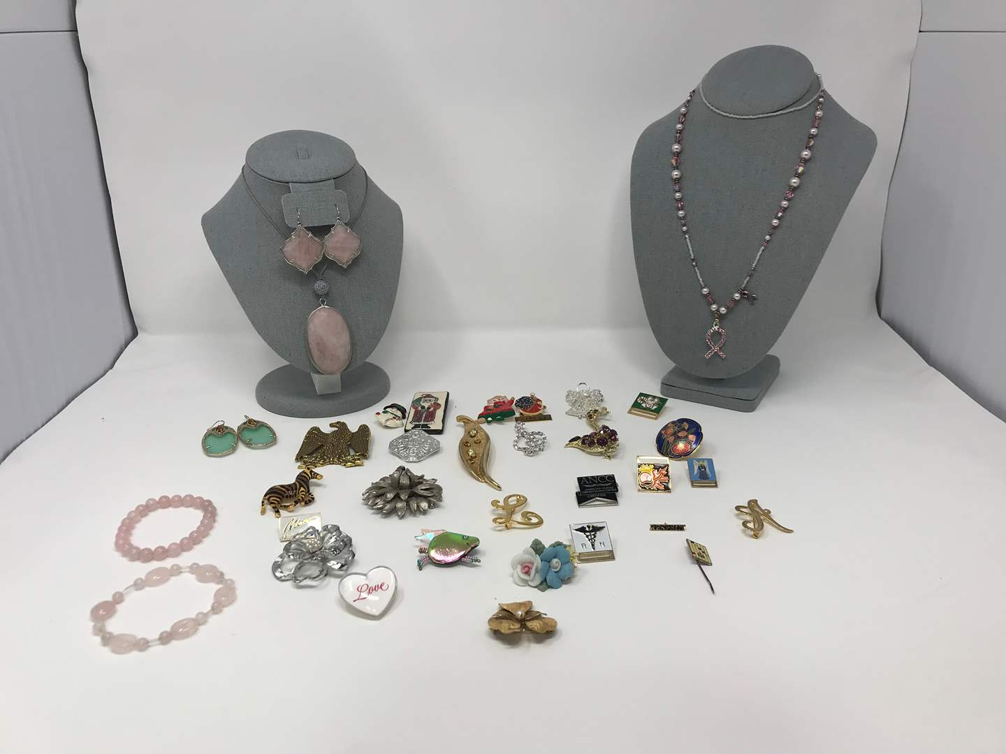 Lot # 78 - Selection of Beautiful Stone Earrings, Necklaces, Vintage Brooches/Pins & More..  (main image)