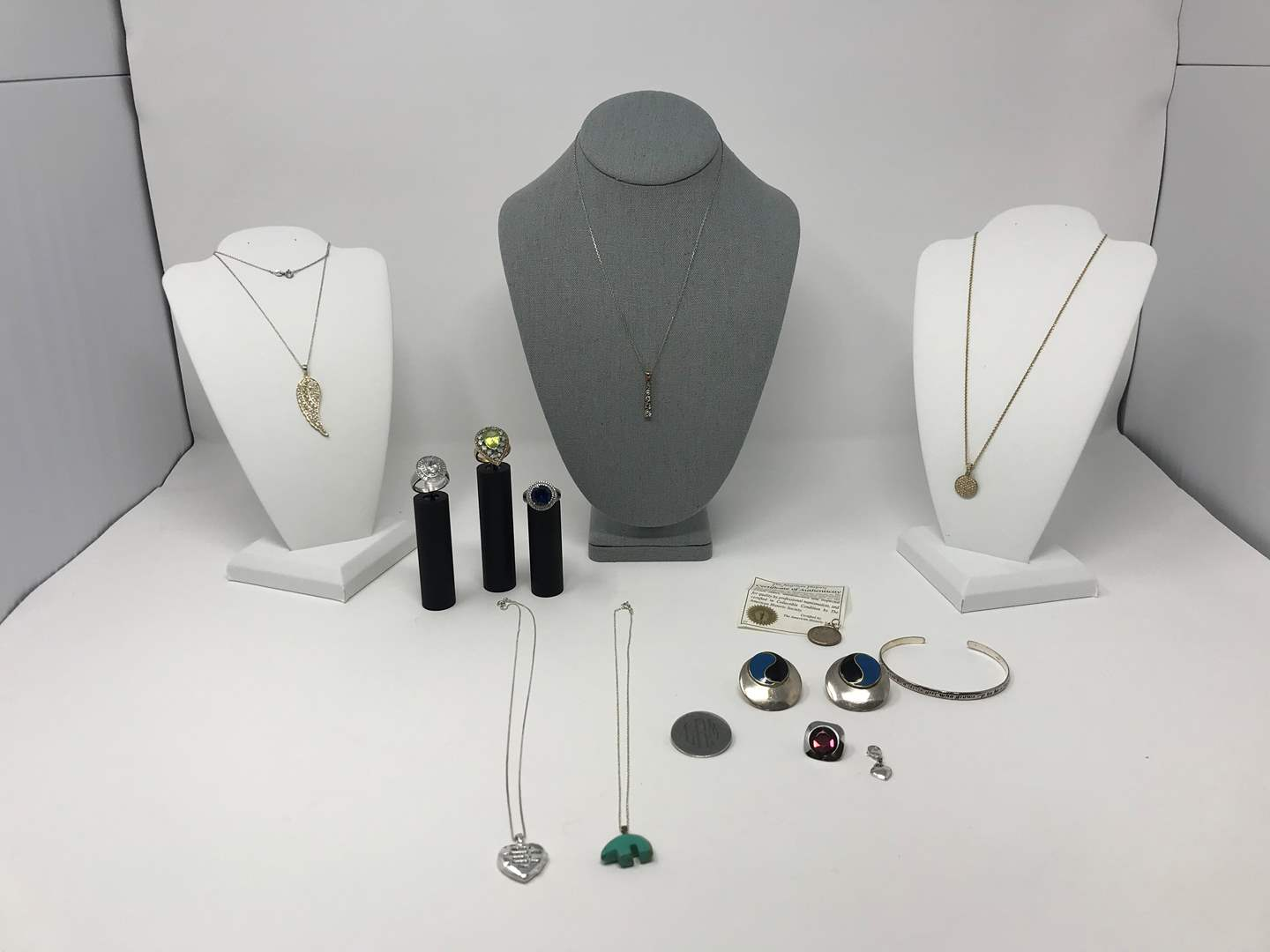 Lot # 81 - Selection of .925 Sterling Silver Jewelry w/Beautiful Stones, 1 Ring is .925 Sterling Plated - 76.82 Grams  (main image)