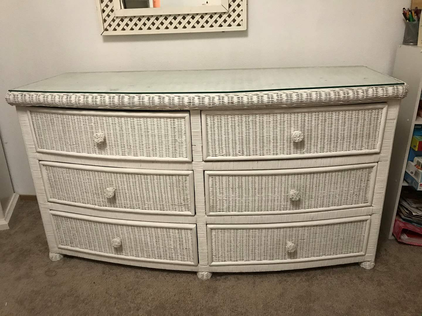 Lot # 84 - Wicker 6-Drawer Dresser w/Glass Top (main image)