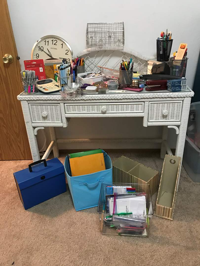 Lot # 86 - Office Supplies: Clock, Pens, Pencils, Markers, SDHC Card, Bins & More..  (main image)