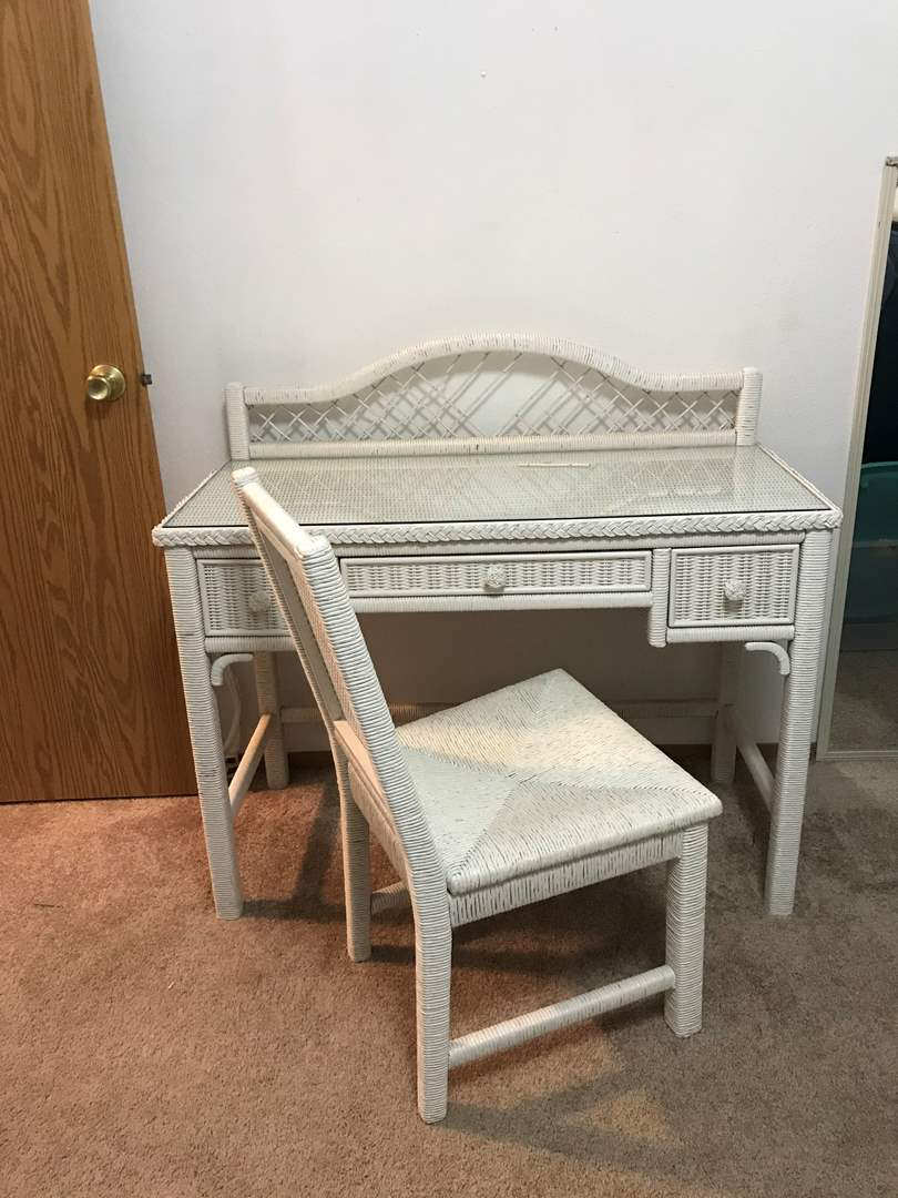 Lot # 88 - Adorable Wicker Desk w/Glass Top & Chair (main image)