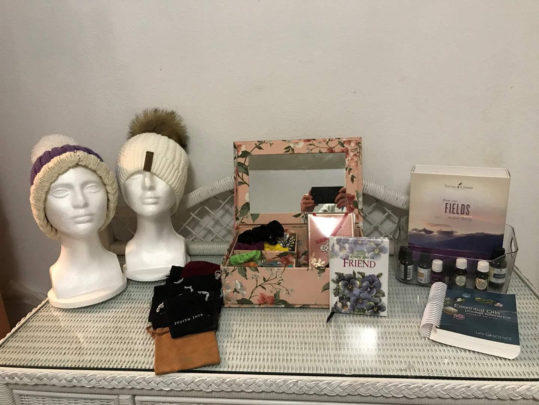 Lot # 90 - Decorative Box w/Hair Ties, Judith Jack Bags, Furtalk Hat, Essential Oils & More..  (main image)
