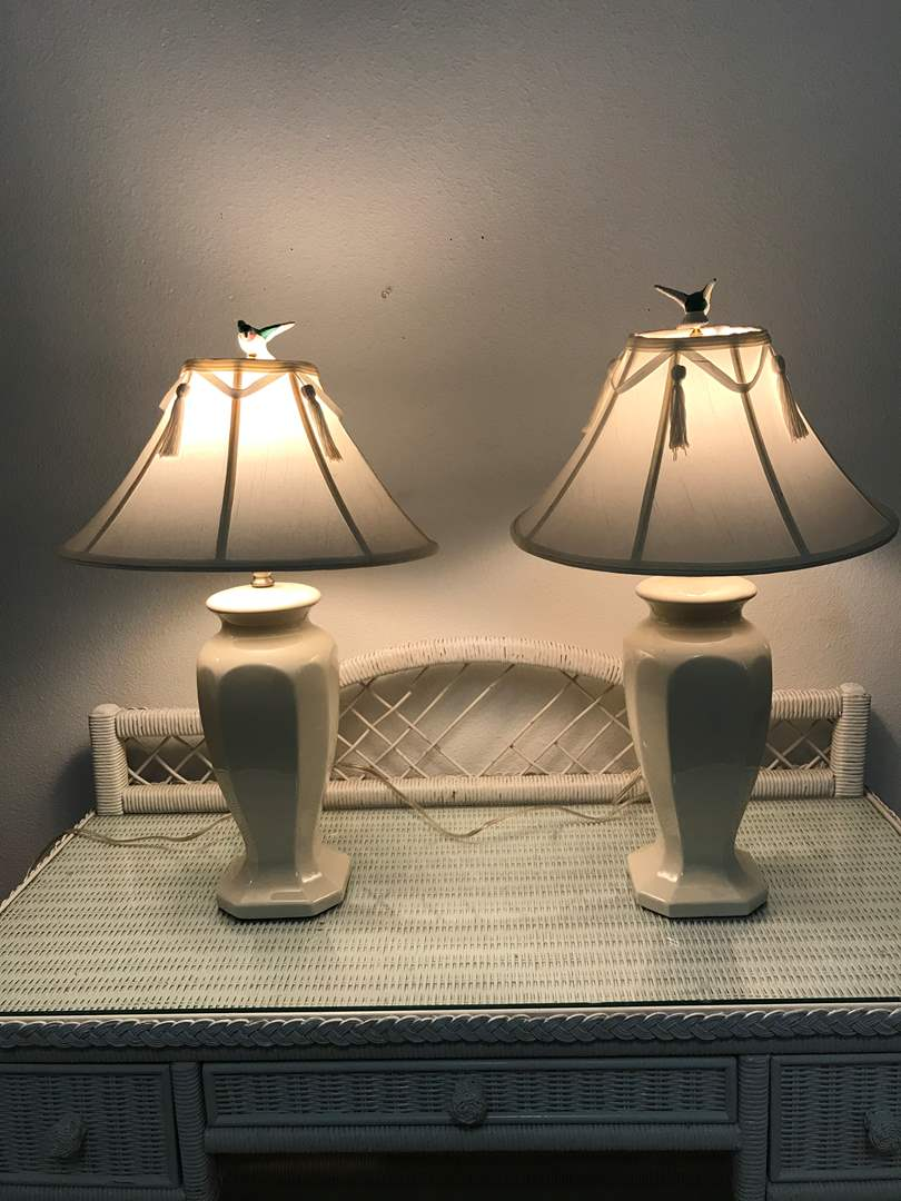 "Lot # 91 - Two Ceramic Lamps - 26"" Tall - Both Work (main image)"