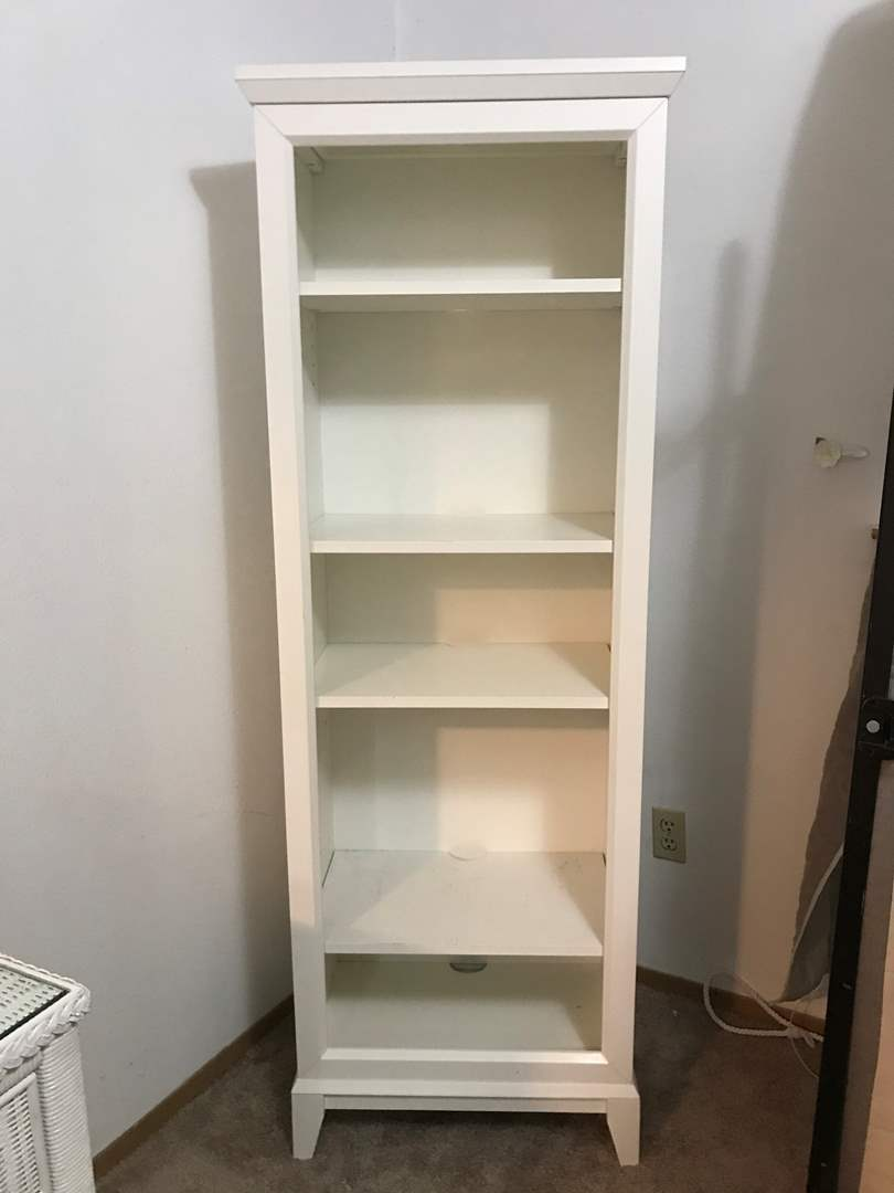 """Lot # 97 - Tall White Book Case from """"Crate & Barrel""""  (main image)"""