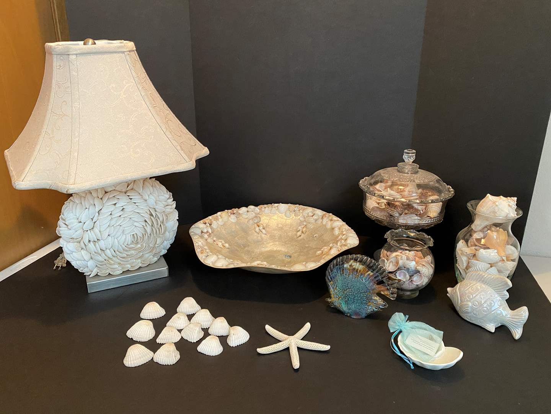Lot # 21 - Sea Shell Lamp, Glass Fish, Nice Sea Shells & More.. (main image)
