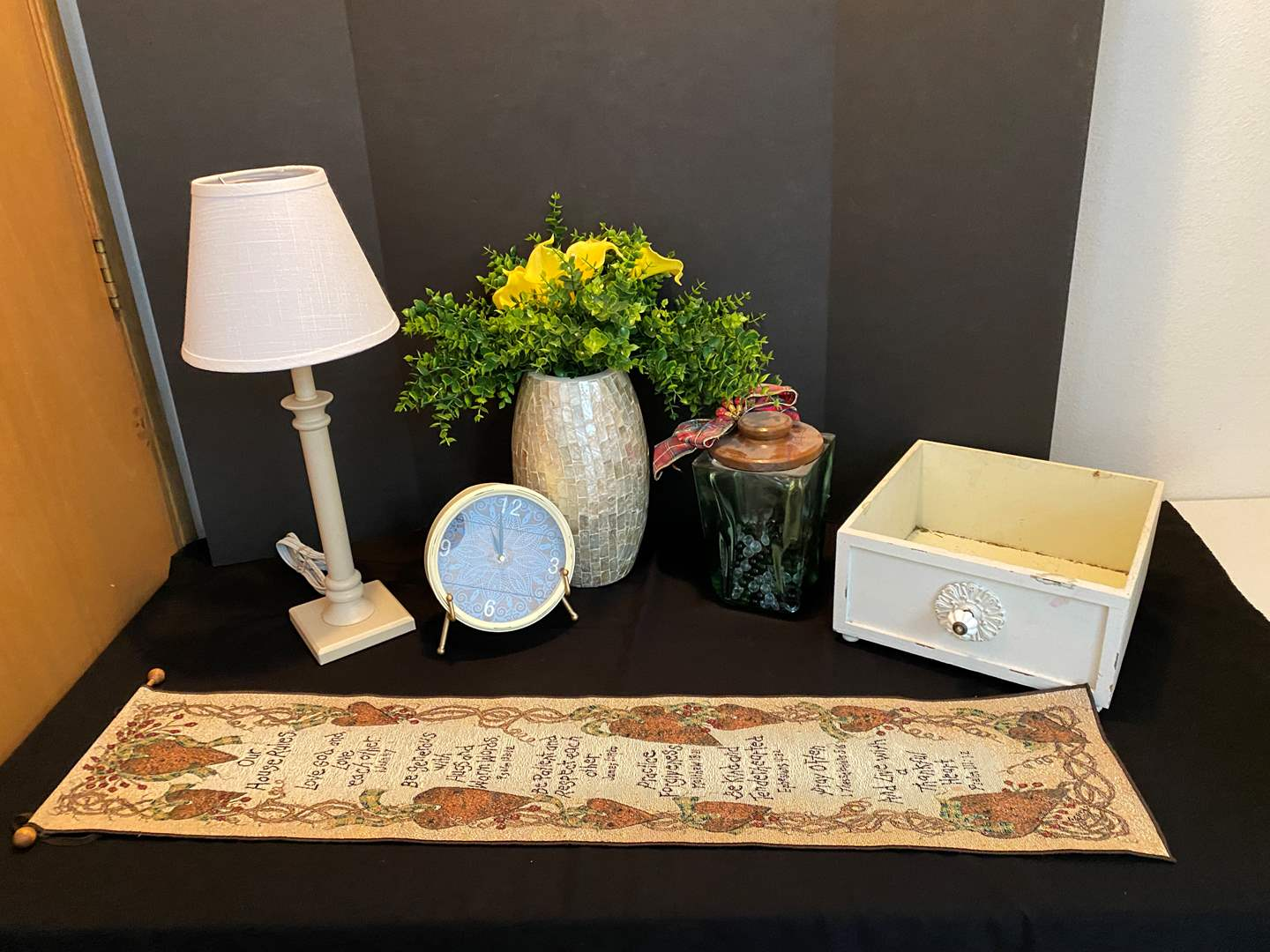 Lot # 23 - Decorative Drawer, Lamp, Clock, Vase & More.. (main image)