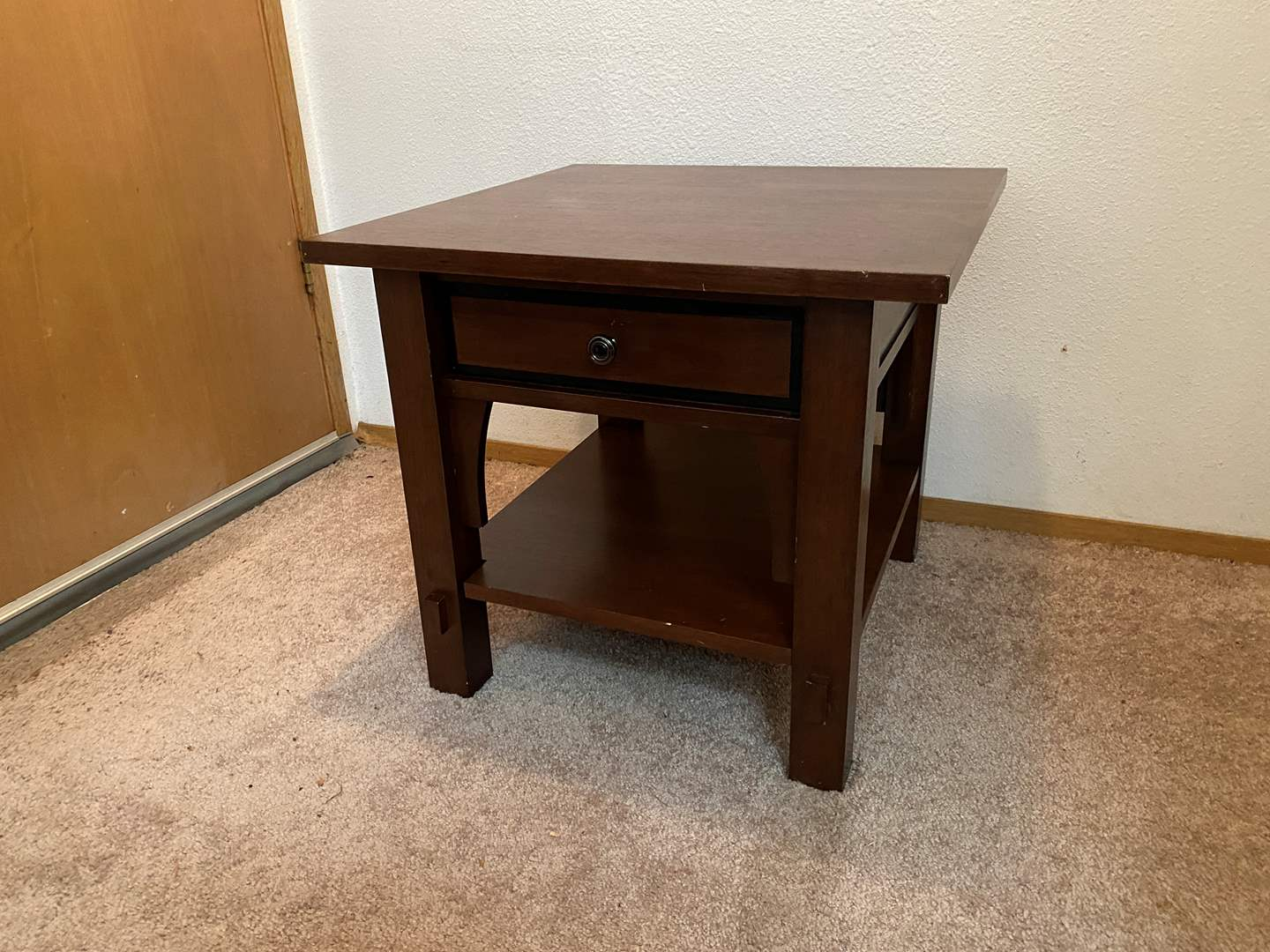 Lot # 27 - Wood Mission Style Side Table w/Drawer (main image)
