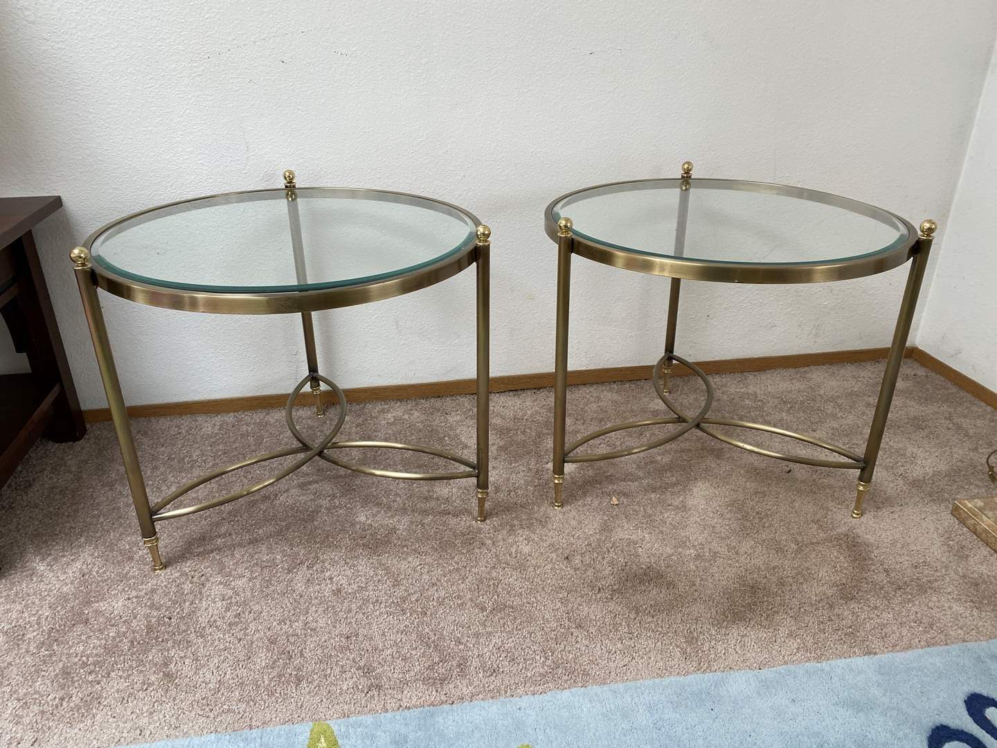 Lot # 28 - Two Vintage Brass Side Tables w/Beveled Glass Tops  (main image)