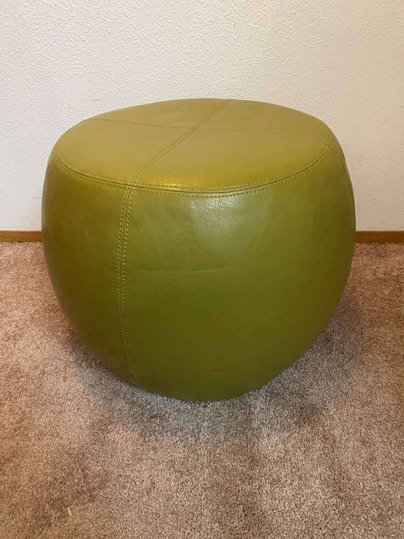 """Lot # 30 - Green Faux Leather Ottoman - 17"""" Tall  (main image)"""