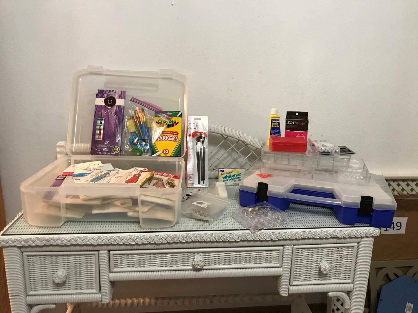 Lot # 151 - Small Selection of Crafting Items w/Craft Organizers, Vintage Patterns, Paints, Markers & More..  (main image)