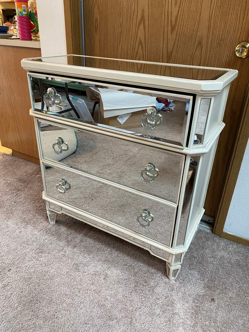 Lot # 35 - Awesome Mirrored 3 Drawer Dresser from Pier-1-Imports  (main image)
