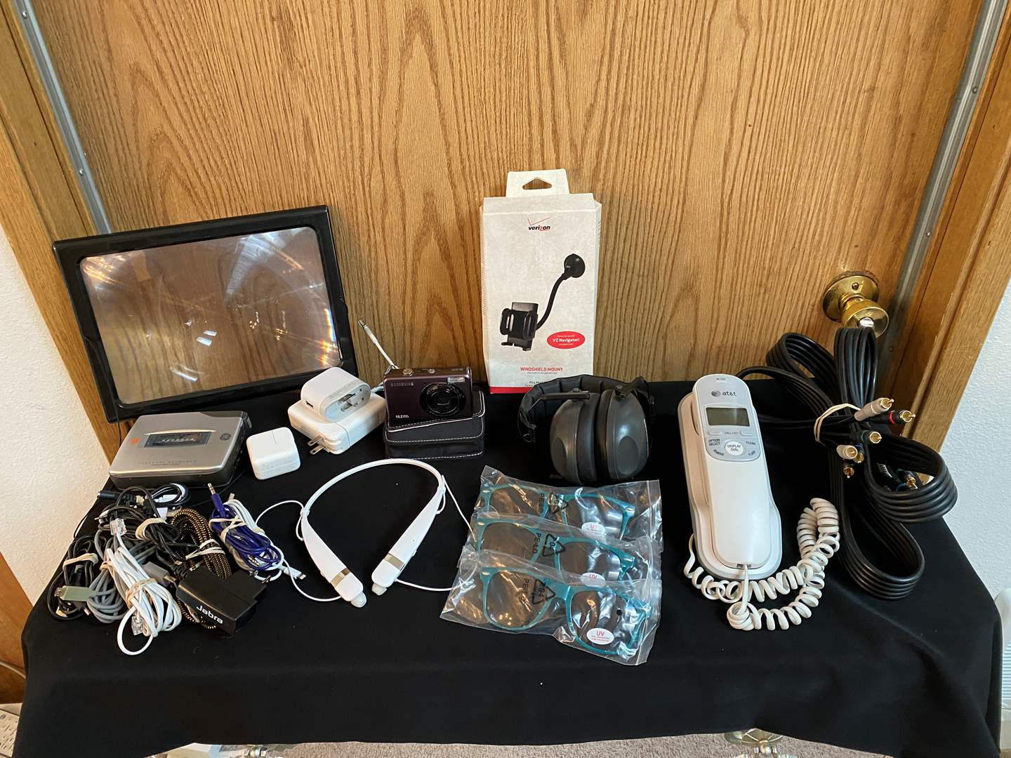 Lot # 39- Misc. Electronics: Samsung Digital Camera, Cassette Player, Phone Chargers, Bluetooth Headphone & More.. (main image)