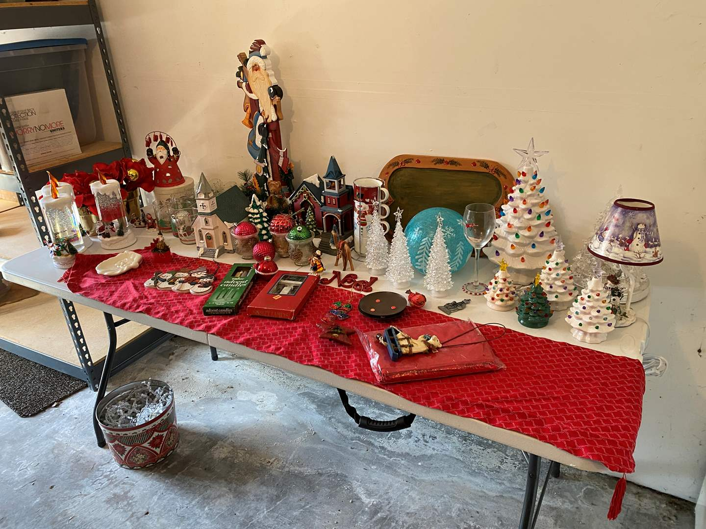 Lot # 189 - Christmas Decor: Ceramic Trees, Glasses, Ornaments, Lighted Houses & More..  (main image)