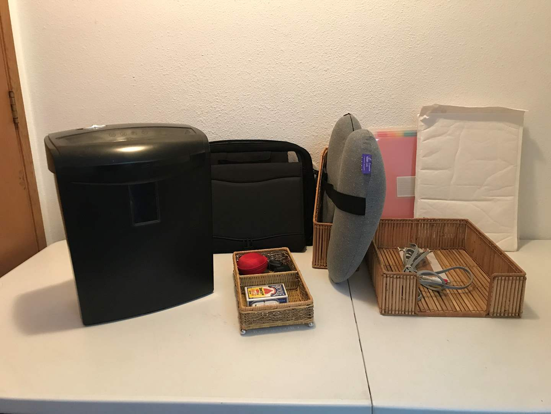 Lot # 176 - Small Office Supplies Items: Shredder, Nintendo Power Cord, Seat Cushion & More..  (main image)