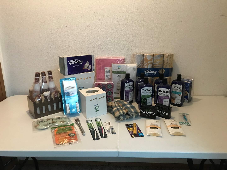Lot # 179 - Wood Matching Trash Can & Kleenex Box, New Dr. Teals Foaming Bath, Kleenex, Soaps & More..  (main image)
