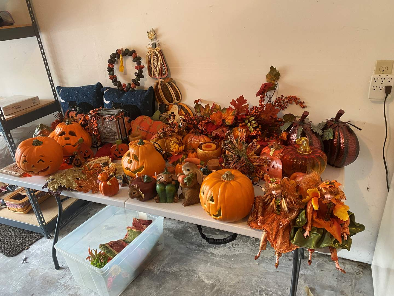 Lot # 191 - Large Selection of Fall Decor: Thomas Kinkade, Pumpkins, & More..  (main image)