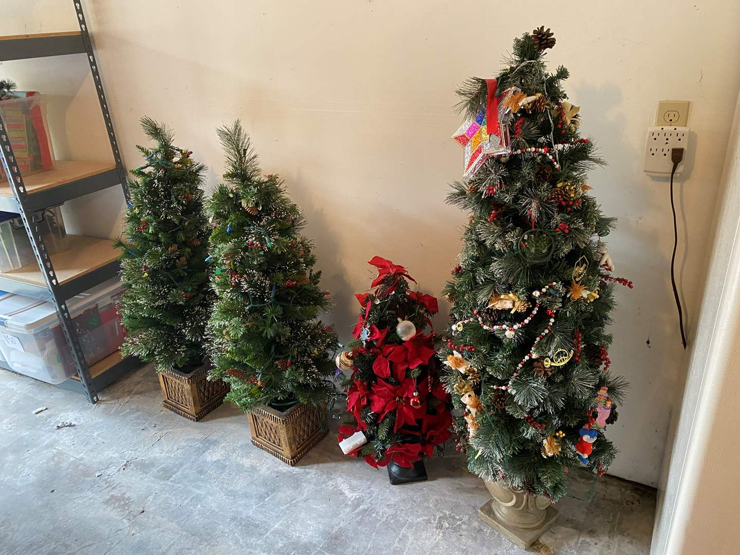 Lot # 196 - Christmas Trees of Various Sizes, Ornaments & Lights (main image)