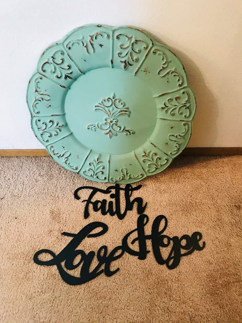 Lot # 227 - Large Tin Wall Art, Faith, Love & Hope Signs (main image)