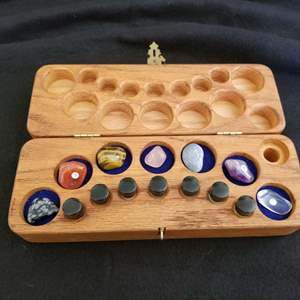 Lot # 5 - Chakra Therapy Starter Kit w/Essential Oils and Healing Stones in Wood Box