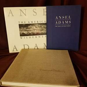 Lot # 8 -  Three photography books: 2 classics on the work of Ansel Adams; one vintage on Edwin Westin's photography