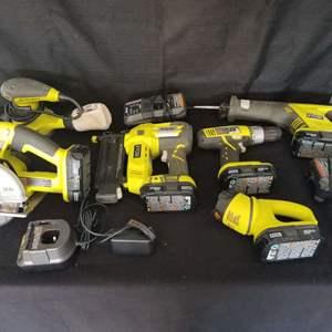 Lot # 13 -  Ryobi Tool Set of Six tools w/Carrying Case