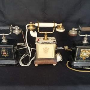 Lot # 14 - Three early 1900's Danish Desk Crank Phones ready for restoration