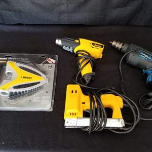 Lot # 17 - Tool Lot - Huxley hex wrench set; Arrow stapler; Wagner heat gun and Power Glide drill