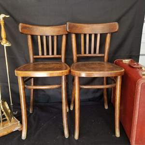 Lot # 20 -  Vintage  Collection: Samsonite Suitcase, Duck Head Brass Fireplace Tools and two Bentwood Chairs