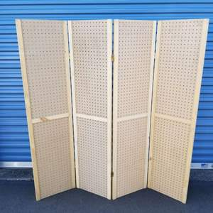 Lot # 27 -  4 Panel Peg Board and Farmers Market Sign