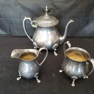 """Lot # 28 -  """"Crescent"""" Silverplate Tea Set and more"""