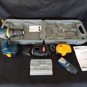 Lot # 33 - Ryobi Cordless Drill 12V includes battery, charger, bit set, stud finder, manuals