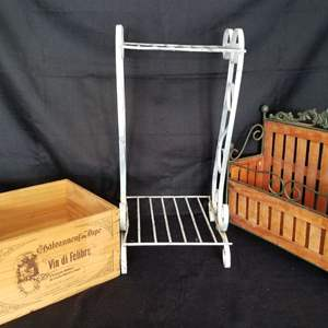 Lot # 38 - Vintage Plant Stand, Vtg Magazine Rack and Chateauneuf-du-Pape Wine Box