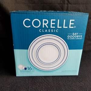 Lot # 44 -  16 piece Corelle classicCafe Blue dinnerware; NIB
